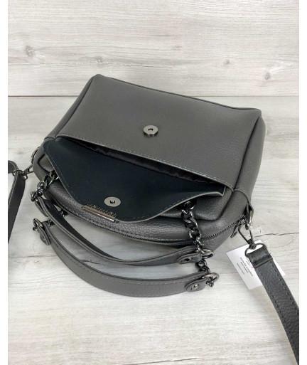 Стильная женская сумка Хлоя серого цвета