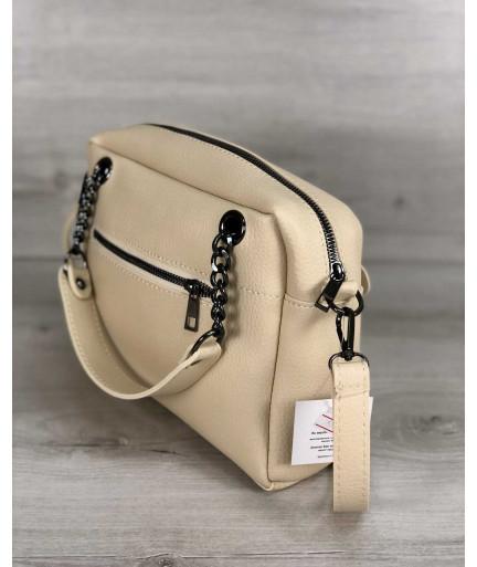 Стильная женская сумка Хлоя бежевогой цвета