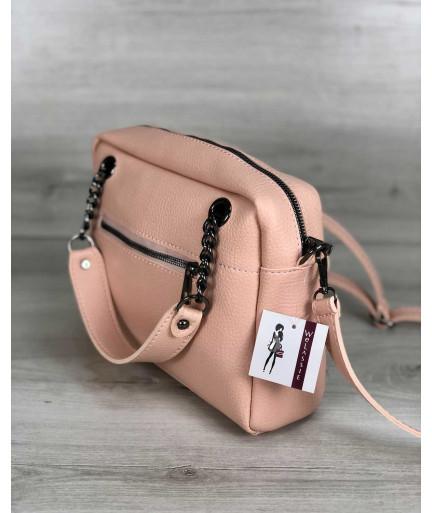 Стильная женская сумка Хлоя пудрового цвета