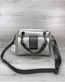 Стильная женская сумка Хлоя серебряного цвета