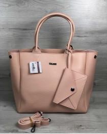 2в1 Молодежная сумка Аланна пудрового цвета