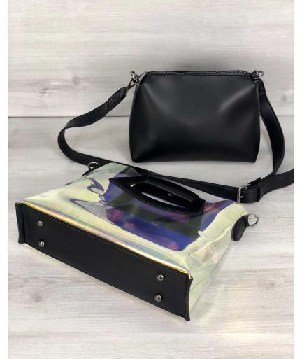 2в1 Молодежная Перламутровая силиконовая сумка Вита с черным