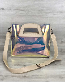 Женская летняя сумка 2 в 1 «Вита» перламутровая с бежевым