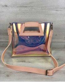 Женская летняя сумка 2 в 1 «Вита» перламутровая пудра
