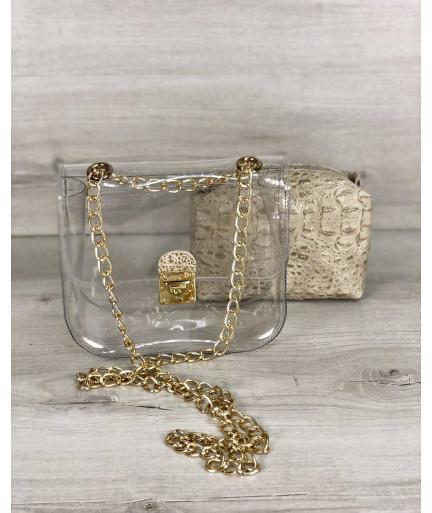 2в1 Молодежная сумка Селена силиконовая с косметичкой кофейный крокодил