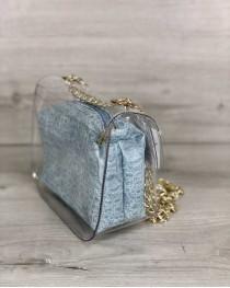 2в1 Молодежная сумка Селена силиконовая с косметичкой голубой крокодил