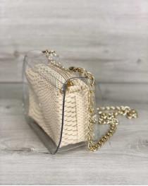 2в1 Молодежная сумка Селена силиконовая с косметичкой молочная рептилия