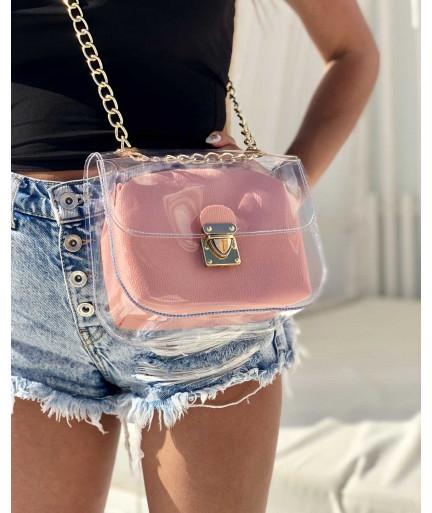 2в1 Молодежная сумка Селена силиконовая с косметичкой пудрового цвета