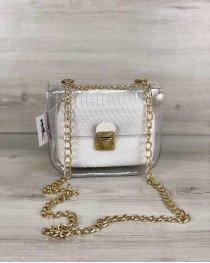 2в1 Молодежная сумка Селена силиконовая с косметичкой белая рептилия