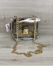 2в1 Молодежная сумка Селена силиконовая с косметичкой золото