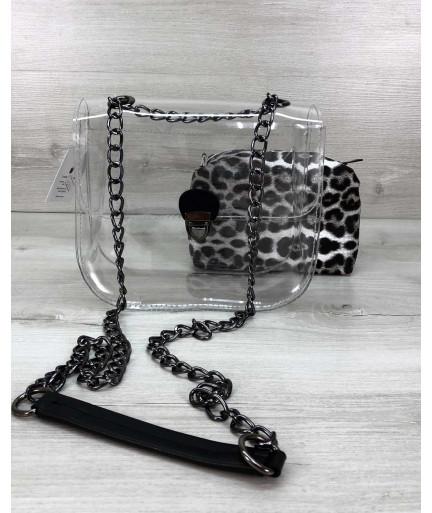 Cумка Селена силиконовая с косметичкой черно-белый леопард (никель)