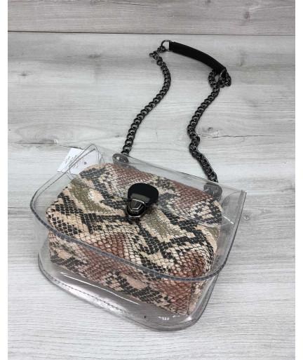 Cумка Селена силиконовая с косметичкой бежевая рептилия (никель)