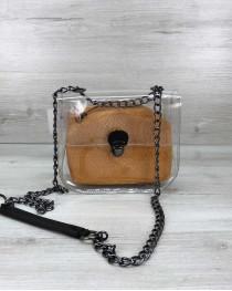 Cумка Селена силиконовая с косметичкой горчичная рептилия (никель)