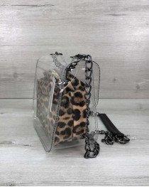 Cумка Селена силиконовая с косметичкой леопард (никель)