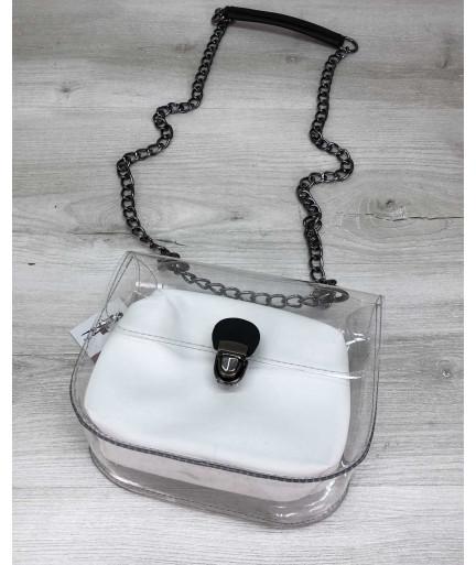 Cумка Селена силиконовая с белой косметичкой (никель)