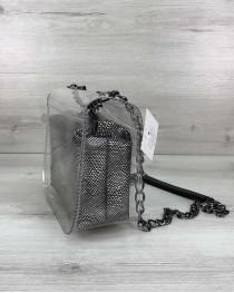 Cумка Селена силиконовая с косметичкой серебро (никель)