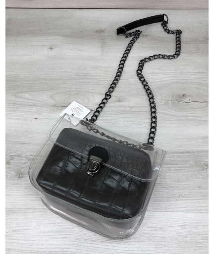 Cумка Селена силиконовая с косметичкой черный крокодил (никель)