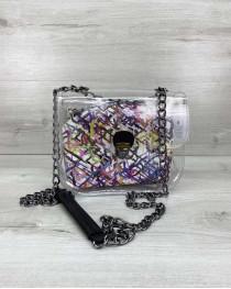 Cумка «Селена» силиконовая с косметичкой белая абстракция