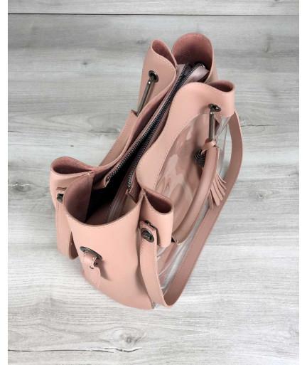 Молодежная сумка Рамона пудрового цвета c силиконом