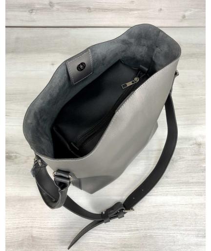 Молодежная женская сумка Леора металлик