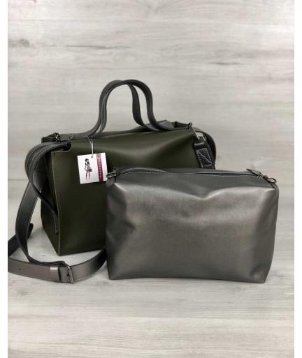 2в1 Стильная женская сумка Малика оливкового цвета