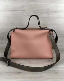 2в1 Стильная женская сумка Малика персикового цвета