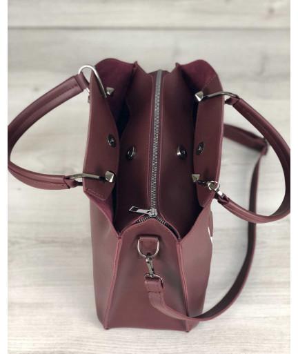 Стильная женская сумка Илария бордового цвета
