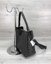 Молодежная женская сумка Сати серого цвета