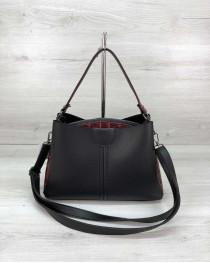 Молодежная женская сумка Илина черного с красным цвета