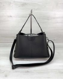 Молодежная женская сумка Илина с боками черно-белая змея