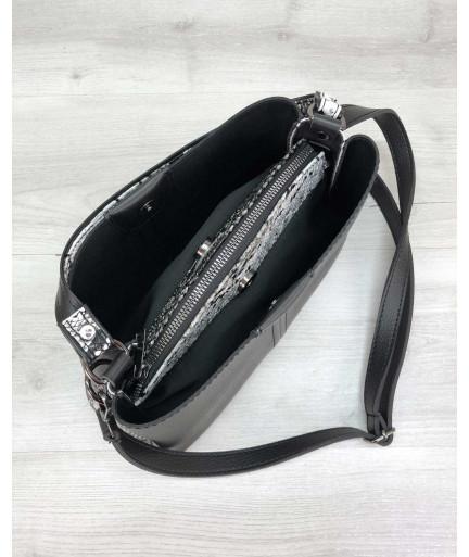 Женская сумка Илина с боками черно-белая змея