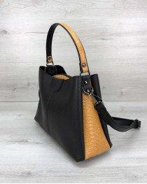 Женская сумка Илина черная с горчицей