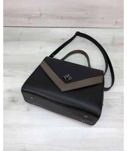 """Женская сумка """"Бетти"""" черная с бронзой"""