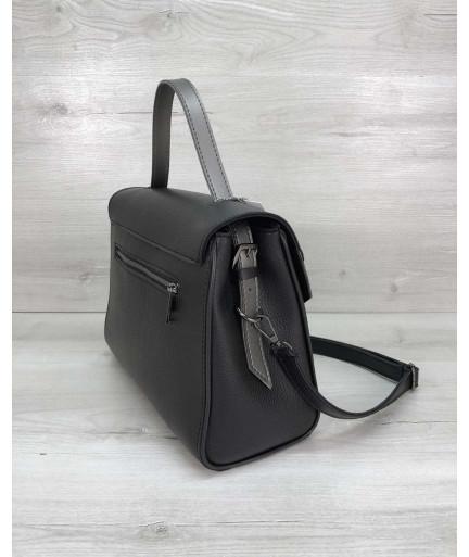 Женская сумка Бетти черная с серебром