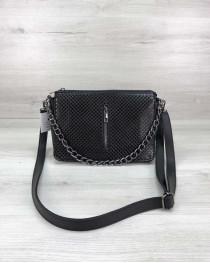 Стильная сумка-клатч  Tina со вставкой черный лак