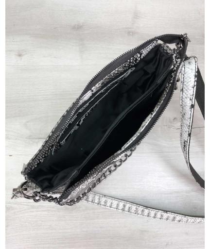 Сумка-клатч  Tina черно-белого цвета