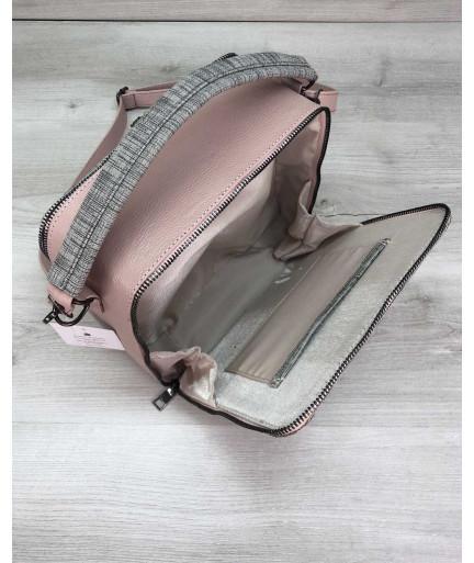Женская сумка Коби пудра с серым