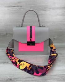 Женская сумка Daisy серый с малиновым