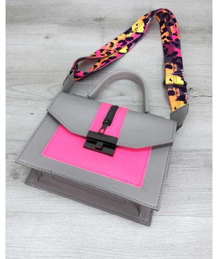 Женская сумка «Daisy» серый с малиновым