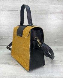 Женская сумка «Оби» черная с горчицей