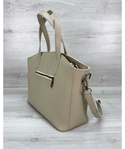 Женская сумка «Сью» бежевая