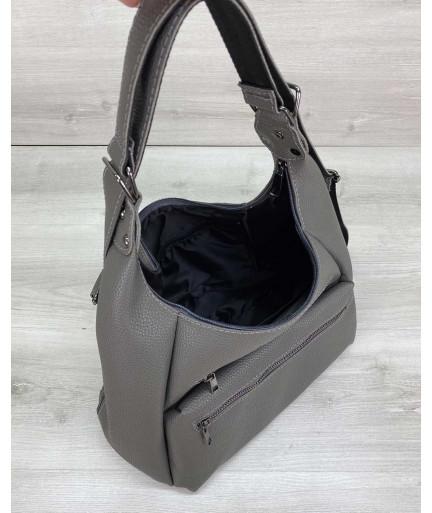 Женская сумка рюкзак «Голди» серый