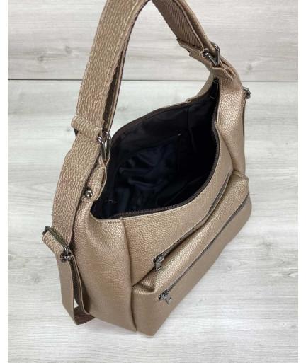 Женский рюкзак сумка «Голди» золотой