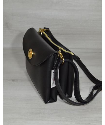 Женская сумка клатч на два отделения черного цвета