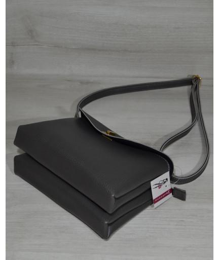 Клатч на два отделения серого цвета