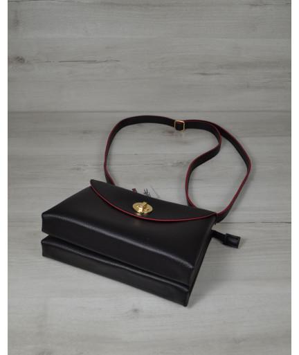 Клатч на два отделения черного с красным цвета