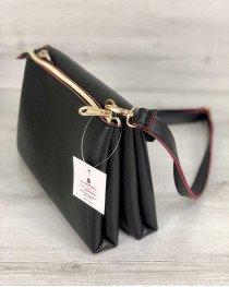 Молодежная женская сумка Виола черного с красным цвета