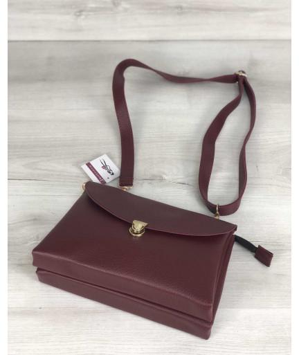 Молодежная женская сумка Виола бордового цвета