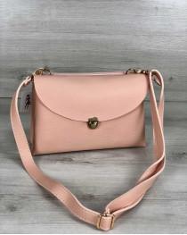 Молодежная женская сумка Виола пудрового цвета