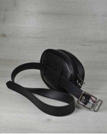Женская сумка на пояс- клатч WeLassie черного цвета Пайетки серебро-черный